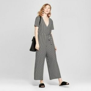 Women's Striped Knit Jumpsuit A New Day Black